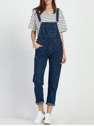Chic Square Neck Sleeveless Pocket Design Ninth Denim Jumpsuit For Women