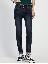 High Waist Skinny Cuffed Jeans - DEEP BLUE