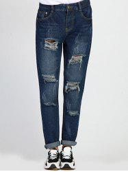 Ripped Boyfriend Jeans - DENIM BLUE