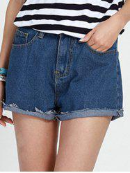 Casual Mid Waist Baggy Denim Shorts