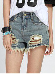 Chic Mid Waist Button Design Denim Ripped Shorts Womens -