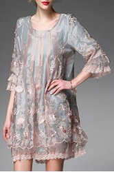 Flower Embroidered Mini Smock Dress -