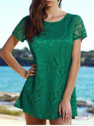 Stylish Round Collar Short Sleeve Solid Color Lace Women's Dress - GREEN