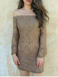 Sexy Boat Neck Flared Sleeve Lace Dress For Women - KHAKI