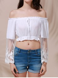 Stylish Flare Sleeve Off The Shoulder White Lace Spliced Women's Crop Top