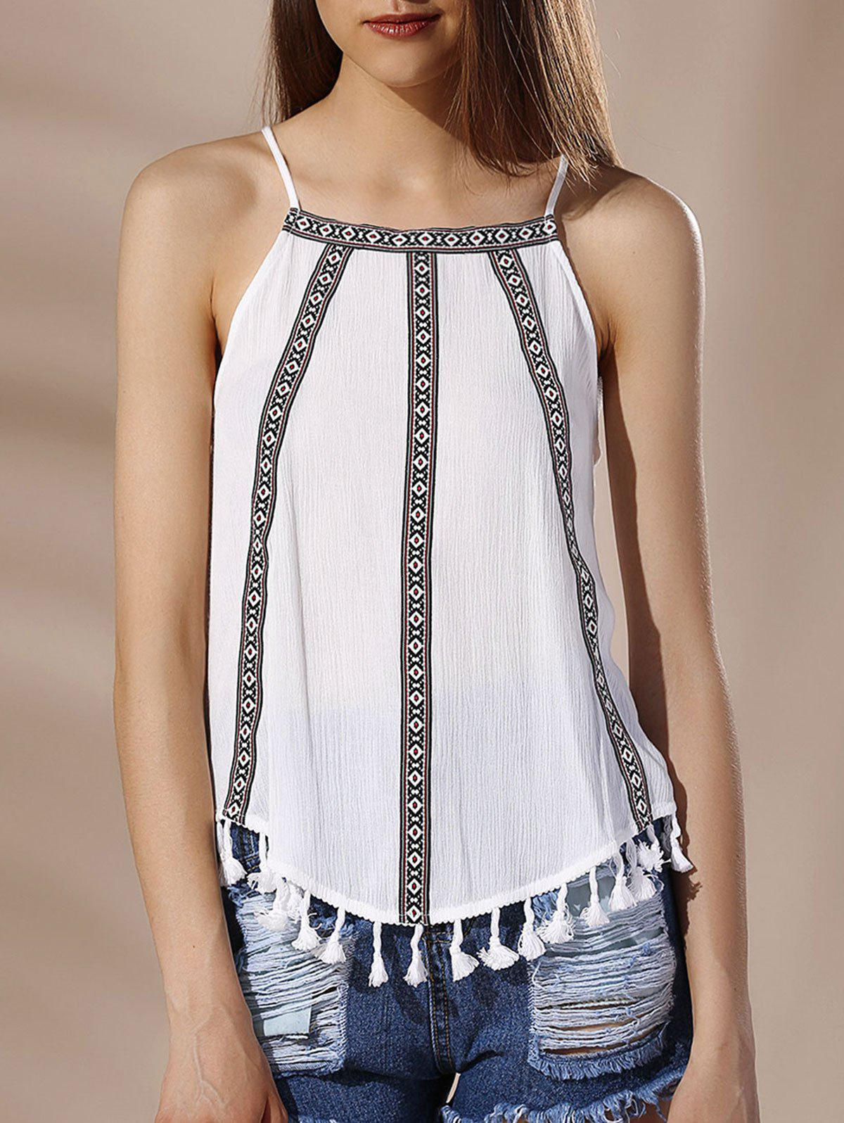 Latest Chic Spaghetti Strap Tribal Print Fringed Women's Tank Top