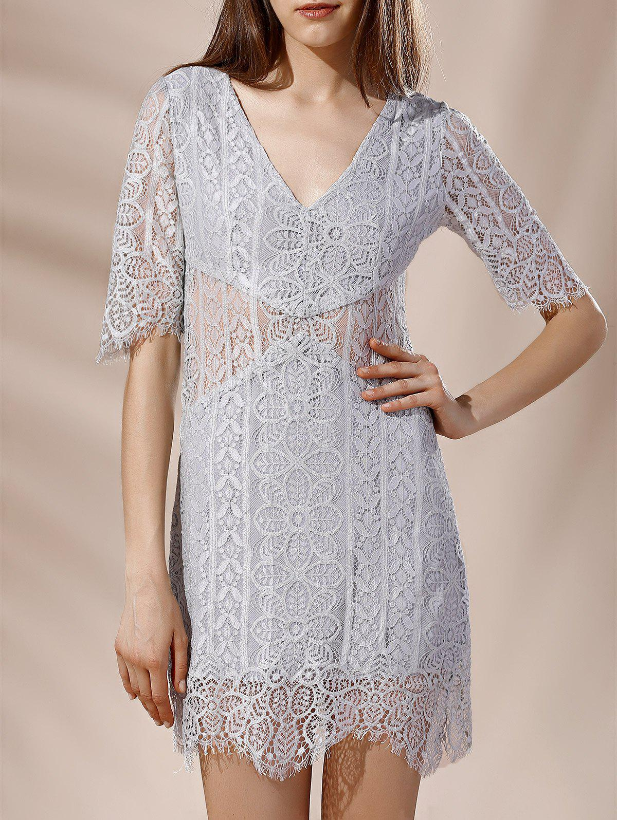 Affordable Alluring Plunging Neck Half Sleeve Lace Design Women's Dress