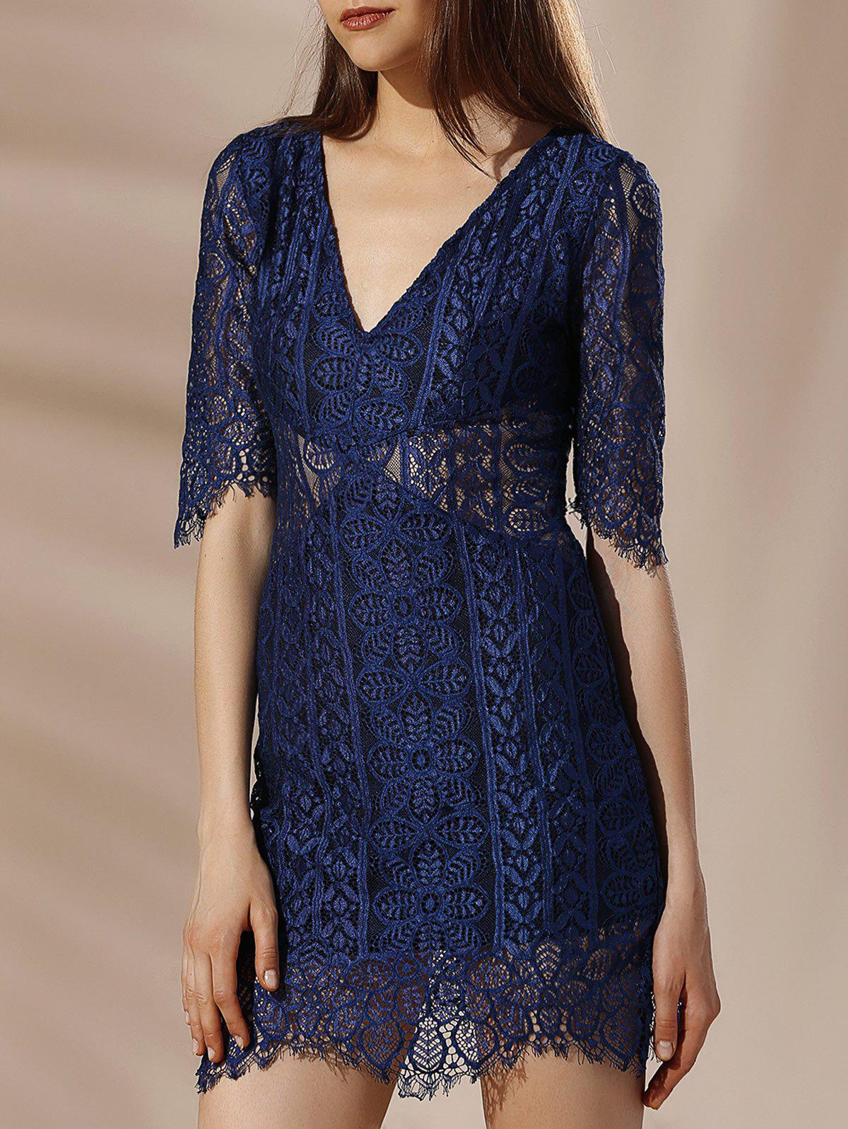 Sale Alluring Plunging Neck Half Sleeve Lace Design Women's Dress