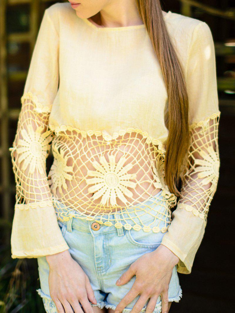 Outfits Fashionable Jewel Neck Long Sleeve Crochet Blouse For Women