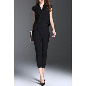 V Neck Solid Color Convertible Jumpsuit - Black - S