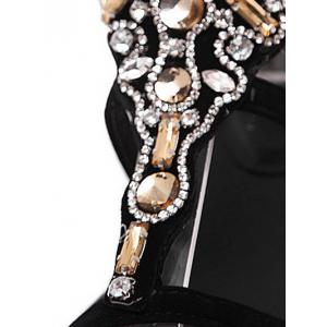 Gorgeous Artificial Jewel and Flat Heel Design Sandals For Women - BLACK 40