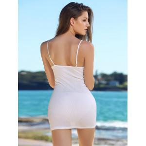 Alluring Solid Color Spaghetti Strap Bodycon Dress For Women - WHITE S
