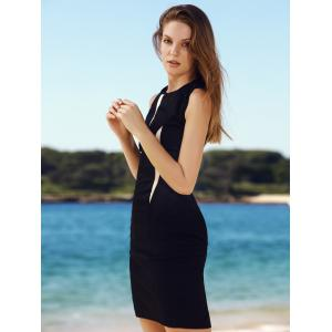 Sleeveless Round Neck Color Block Women's Bodycon Dress -