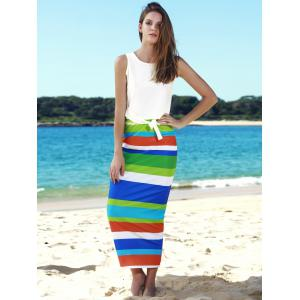 Stylish Scoop Neck Sleeveless Tank Top + High-Waisted Striped Skirt Women's Twinset -