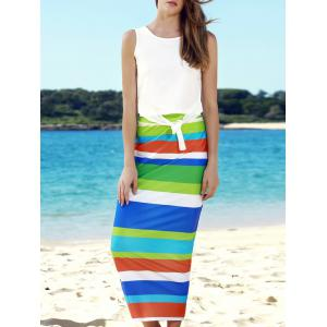 Stylish Scoop Neck Sleeveless Tank Top + High-Waisted Striped Skirt Women's Twinset