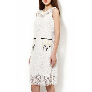 Beaded Applique Lace Knee Length Dress with Tank Top -