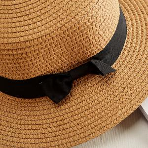 Chic Black Lace-Up Embellished Cool Summer Straw Hat For Women -