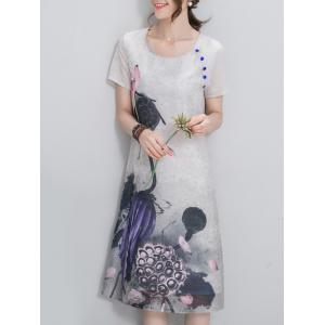 Ethnic Style Scoop Neck Short Sleeve Chinese Ink Painting Women's Dress -