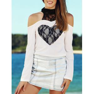 Sexy High Collar Lace Embellished Long Sleeve T-Shirt For Women