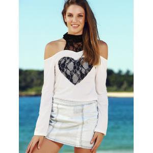 Sexy High Collar Lace Embellished Long Sleeve T-Shirt For Women - WHITE S