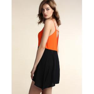 Two Tone Open Back Slip Casual Dress -