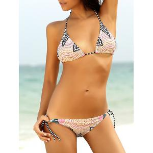 Sexy Spaghetti Strap Print Bikini Set For Women