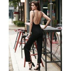Stylish Shining String Design Backless Jumpsuit For Women -