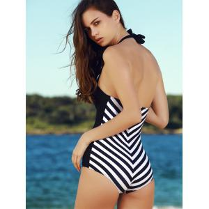 Vintage Halter Striped One-Piece Swimwear For Women -