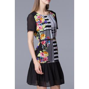 Floral and Stripe Printed Dress -