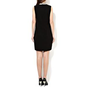 Stand Collar Embroidered Pencil Dress -