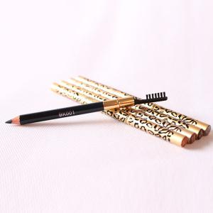 Stylish Leopard Pattern Double-End Waterproof Smudge-Proof Eyebrow Pencil with Brush -