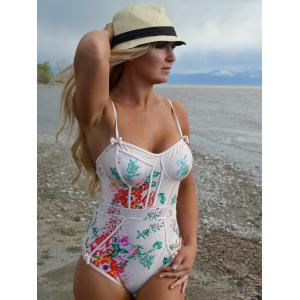 Cute Spaghetti Strap Floral Print Women's One-Piece Swimwear -