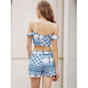 Trendy Spaghetti Straps Crop Top and Printed Shorts Twinset For Women - BLUE AND WHITE XL