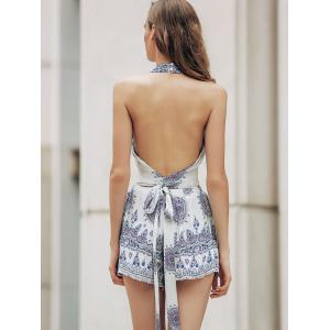 Stylish Stand Neck Backless Cut Out Tank Top and High Waist Floral Print Shorts Women's Twinset -
