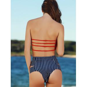 Striped High Waist Push Up Bandeau Bikini Set - RED S