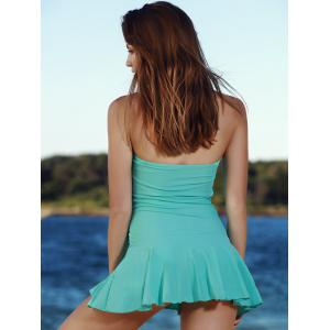 Stylish Solid Color Convertible Halter Flounced One-Piece Swimwear For Women - LAKE BLUE S