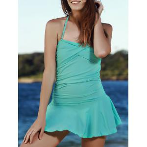 Stylish Solid Color Convertible Halter Flounced One-Piece Swimwear For Women