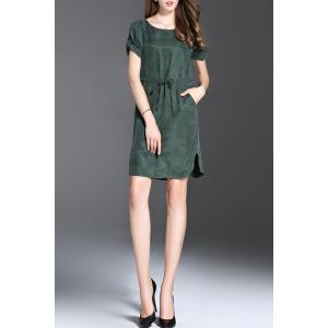 Short Sleeve Solid Color Drawstring Mini Dress -