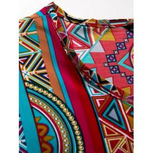 Ethnic Style Scoop Neck Short Sleeve Tribal Print Women's Mini Dress -