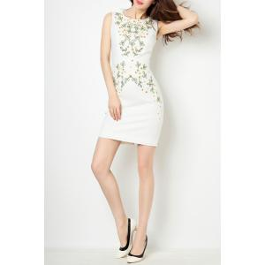 Round Collar Sequin Embroidered Bodycon Dress -
