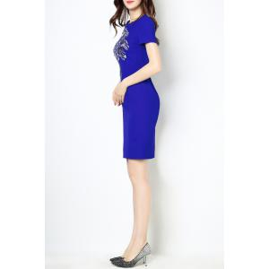 Round Collar Embroidered Bodycon Short Sleeve Dress -