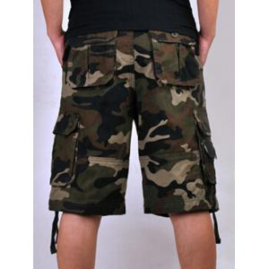 Zipper Fly Loose-Fitting Camo Printed Multi-Pockets Straight Leg Cargo Shorts For Men -