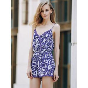 Trendy Spaghetti Strap Cashew Print Romper For Women - BLUE AND WHITE S
