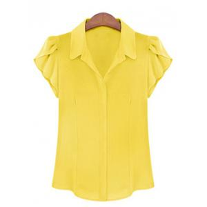 Elegant Shirt Collar Flounce Sleeves Chiffon Shirt For Women