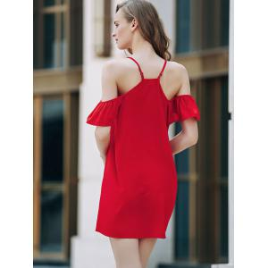 Sweet Cold Shoulder Ruffle Sleeve Women's Red Dress -