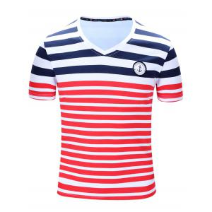 Casual Short Sleeves Striped V-Neck T-Shirt For Men