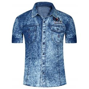 Fashion Single Breasted Short Sleeves Denim Shirts For Men - Deep Blue - Xl