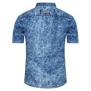 Fashion Single Breasted Short Sleeves Denim Shirts For Men -