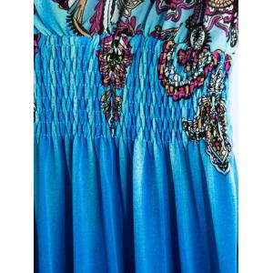 Sweet V-Neck Printed Sleeveless Women's Bohemian Dress -
