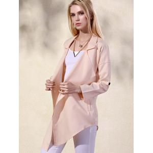 Fashion Lapel Collar Long Sleeve Solid Color Pockets Women's Trench Coat -